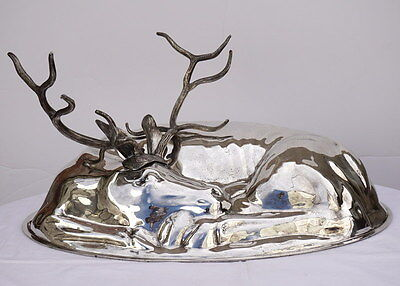 Huge Antique Silver Cloche Cover Shape of Stag Italy Provenance Castle Kickley
