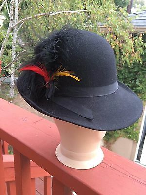 Vintage Women's Lancaster 100% Wool Hat Black With Feathers