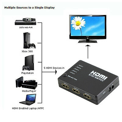 5 Port 1080P Video HDMI Switch Switcher Splitter HUB For HDTV PS3 DVD +IR Remote