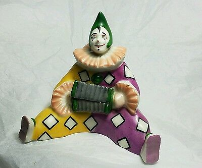 Estate Vintage Signed French Porcelain Seated Clown Box * Becquerel Aladin Era