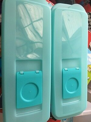 Tupperware 2 x Ice Cube Plastic Tray Flip Top  Lid Contains 14 Cubes No Spills