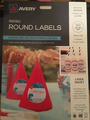 AVERY gloss white round pricing labels ink laser printable