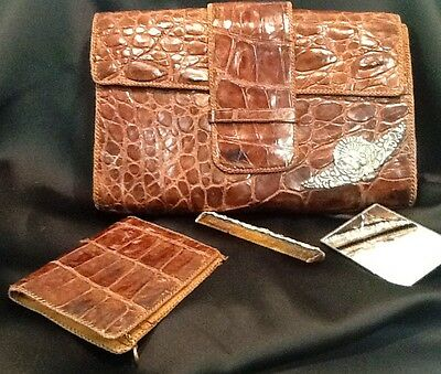 Alligator clutch bag Vintage 1930s purse with matching accessories