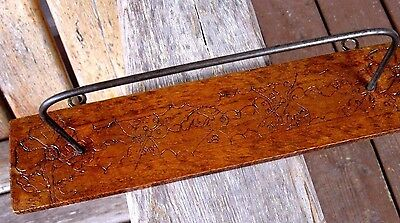 Antique Hand Crafted Primitive Wood Folk Art Wall Rack Stand Vintage Pyrography