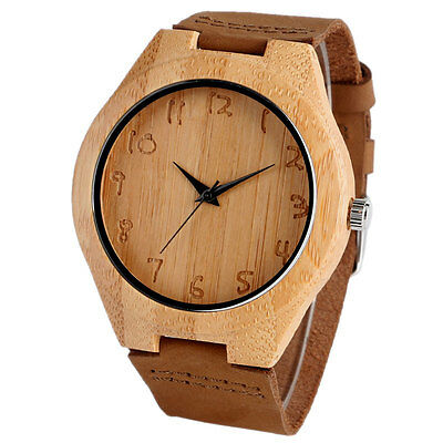 Casual Bamboo Nature Wood Genuine Leather Band Round Analog Mens Wrist Watch