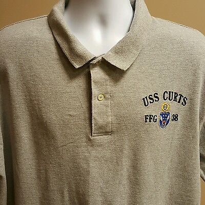 USS Curts FFG 38 Gray XL Polo Shirt Operation Desert Storm US Navy USN Military