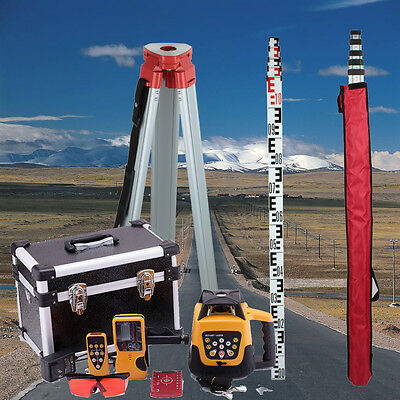 Self-Rotating Construction Rotary Red Laser Level & 1.63M Tripod & 5M Ruler