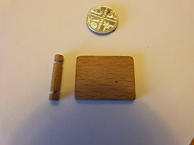 Dol Toi Vintage dolls house wooden board and rolling pin