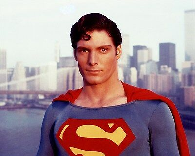 CHRISTOPHER REEVE color SUPERMAN wth SKYLINE Hollywood Celebrity photo (44bh)