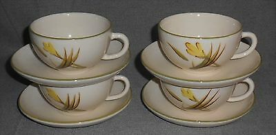 Se (4) Winfield TIGER IRIS PATTERN Cups and Saucers MADE IN CALIFORNIA