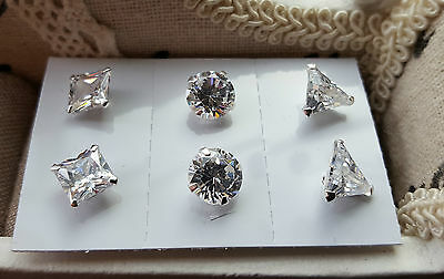 Set of three AAA Cr  Diamond Stud Earrings in  Sterling Silver