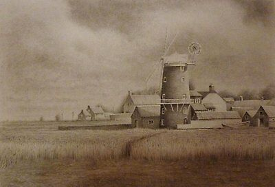 Original Landscape Pencil Drawing, Cley Windmill, A3 Size