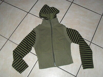 Age 8-9 Years Khaki Green Hooded Cardigan Top By Funky Diva