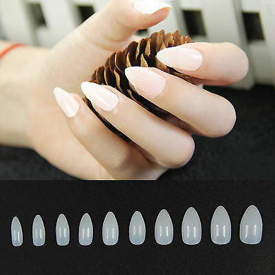SUP 500PCS Natural Clear False Point Stiletto French Acrylic UV Gel Nail Tips
