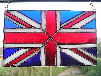 Stained Glass Union Jack Great Britain Flag Suncatcher Hand Made in England