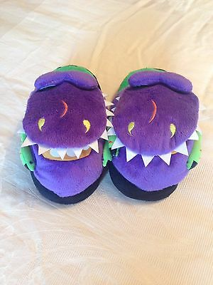Kids Novelty Silly Slippeez Purple Crocodile With Gaping Mouth Slippers Size 2/3