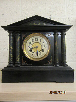 Marble Style Ebonised Mantel Clock In Working Order  C1900 14 day duration