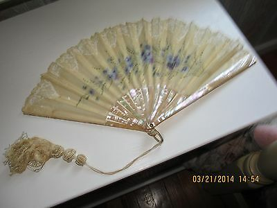 Antique Lace And Nylon Fan, Mother Of Pearl