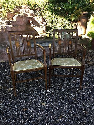 Antique Pair Of Inlaid Edwardian Open Arm Chairs