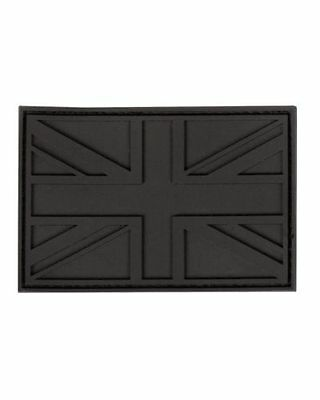 Military Morale Subdued British Union Jack Flag PVC / Rubber Patch - BLACK - New