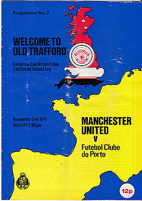 1977 Man United v Porto, Cup Winners' Cup  2nd Round 2nd Leg Official Programme