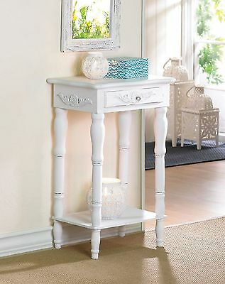 Colonial Cottage Chic Accent Side End Table Carved Detailing Drawer Shelf White