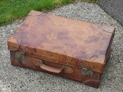 "Leather Suitcase - Approx. 24 x 15 x 9"" - Purchased in India Circa 1940"
