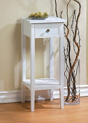 Narrow Spacesaving White Accent Side End Table Plant Stand with Drawer & Shelf