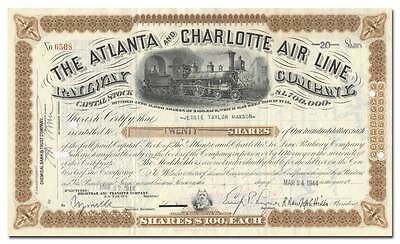 Atlanta and Charlotte Air Line Railway Company Stock Certificate
