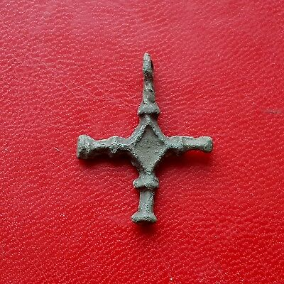 Ancient Viking age bronze cross pendant of 8-10 century AD