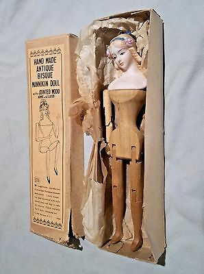 """Vintage Shackman hand made wood doll with bisque head Japan, 9.5""""....very nice!"""