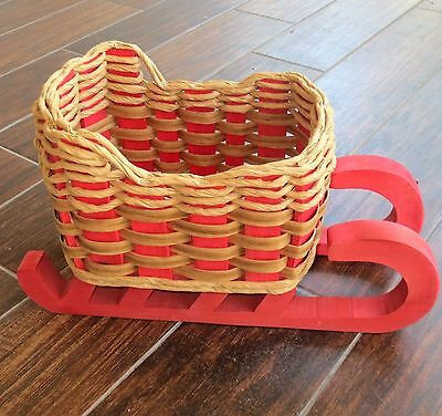 Large Heavy Thick Woven Wicker & Wood Sleigh Sled Decorative