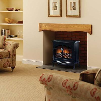 Electric Vintage Stove Fireplace Real Fire Flame Effect Heater Black 2Kw Dimplex