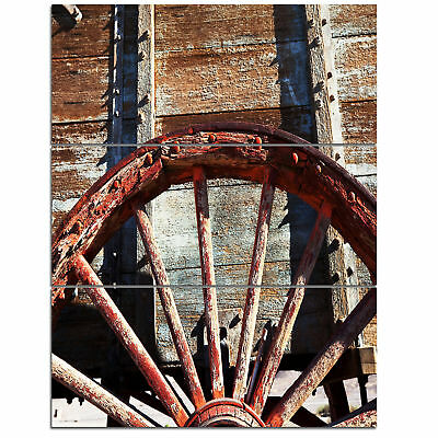 'Old Brown Cart Wheel' 3 Piece Photographic Print on Wrapped Canvas Set