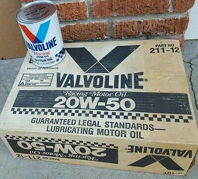 Valvoline 20W-50 Racing motor oil NOS paper cans 12 case local pickup
