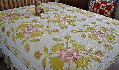 Antique Hand Stitched Whig Rose Applique Quilt with Grapevine Border *