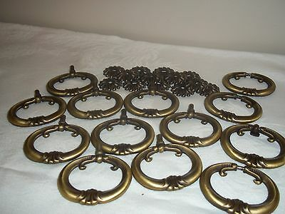 set of 9 dresser cabinet drawer pulls antique brass
