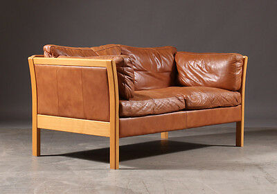 Danish vintage two seater brown leather sofa