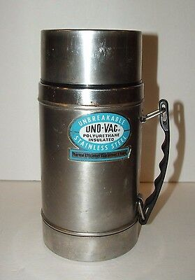 Vintage Uno-Vac Thermos Wide Mouth Stainless Steel Unbreakable Thermos 20 Oz.