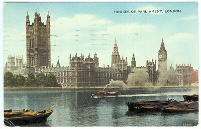 1954 postcard, Houses of Parliament with steam launch & coal barges on Thames