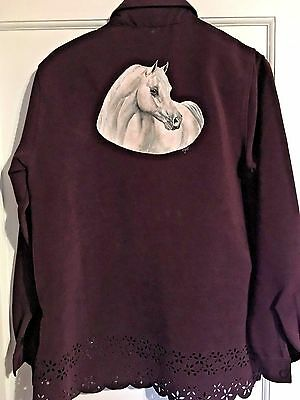 "Gray Arabian Horse Hand Painted On Blouse By "" dressbarn """