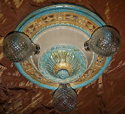 Vtg Art Deco Polichrome Cast Metal Flush Mount Chandelier Ceiling Fixture