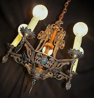 Antique Deco Gothic Polichrome Cast Brass Bakelite Hanging Chandelier Fixture