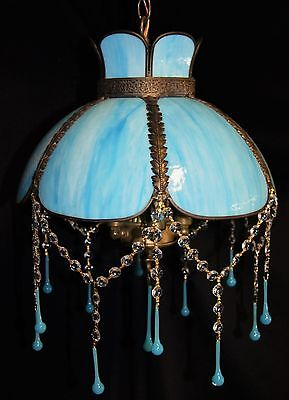 Vintage Glass Shade Crystal Ball Jellyfish Ceiling Light Chandelier Fixture 1940