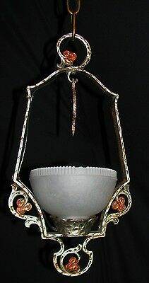VINTAGE DECO CHANDELIER CAST METAL PENDANT GLASS SHADE LIGHT FIXTURE 1920's