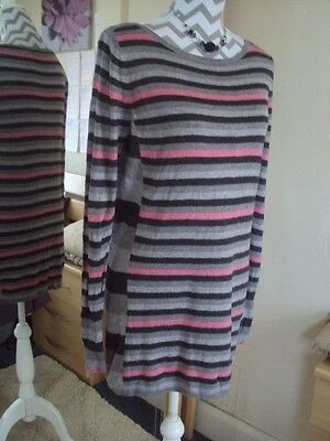M&S Ladies Lovely Striped Long Knitted Jumper**Size 14