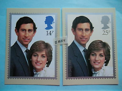 1981 Royal Wedding Princess Diana Prince Charles Phq Cards - Mint