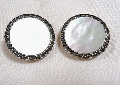 Fabulous Vintage Earrings Mother of Pearl & Marcasite Sterling Silver 17.3 Grams