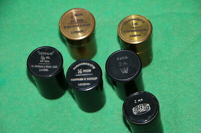 6 Antique Empty Brass Canister For Microscope Objective