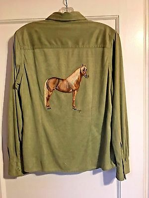 Dapple Chocolate Palomino Horse Hand Painted On Woman's Blouse